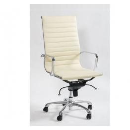 Офисен стол S604 - бяла ест.кожа