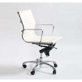 Офис стол S605 - бяла ест.кожа