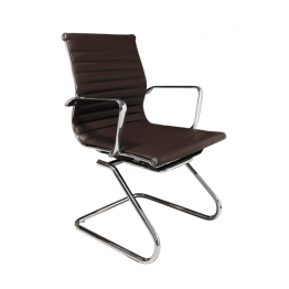 Посетителски стол S606, тъмно кафяв, ест. кожа