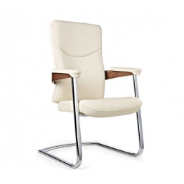 Посетителски стол S6807- ест.кожа, бял