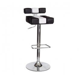 Бар стол М-976 - черно бяла кожа